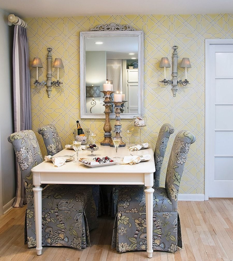 Traditional-yellow-and-gray-dining-room-with-custom-chairs-that-steal-the-show
