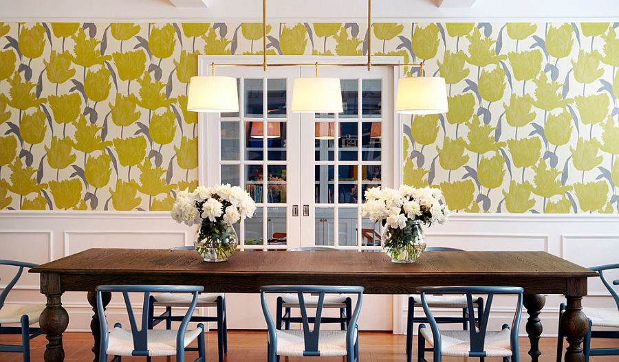 Wallpaper-adds-yellow-while-the-dining-table-chairs-bring-a-touch-of-bluish-gray-to-the-dining-room