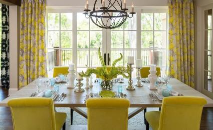Sự kết hợp giữa xám – vàng trong trang trí nội thất phòng ăn