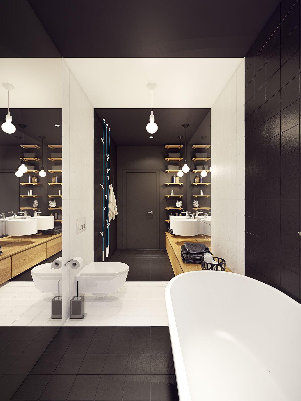 bold black and white bathroom Căn hộ hiện đại tuyệt đẹp với thiết kế đầy màu sắc qpdesign