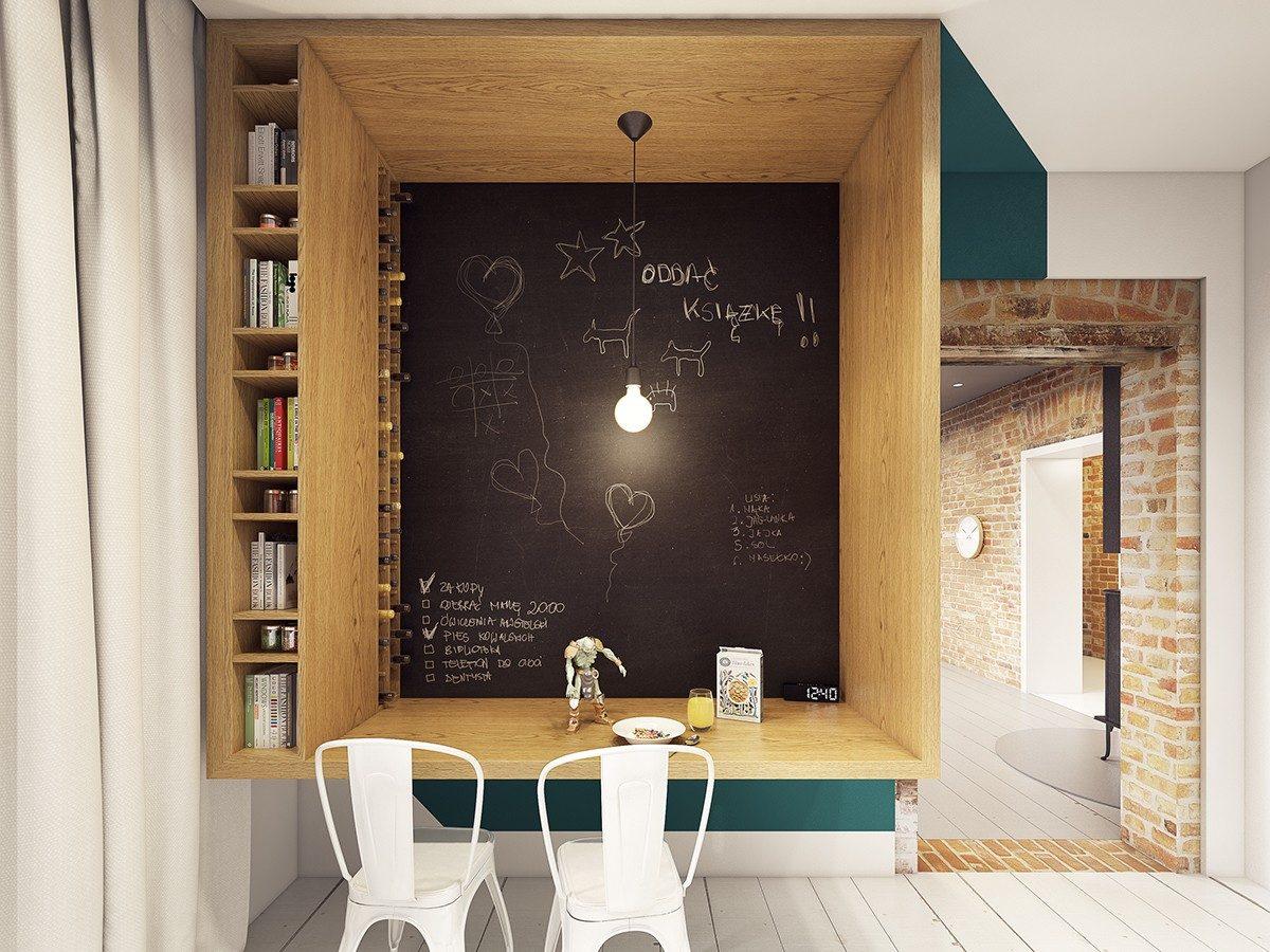 chalkboard breakfast bar ideas Căn hộ hiện đại tuyệt đẹp với thiết kế đầy màu sắc qpdesign