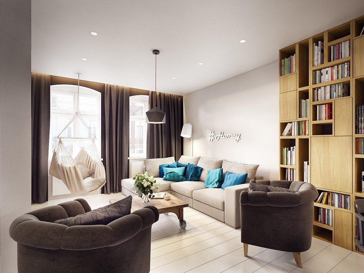 chic blue and gray apartment Căn hộ hiện đại tuyệt đẹp với thiết kế đầy màu sắc qpdesign