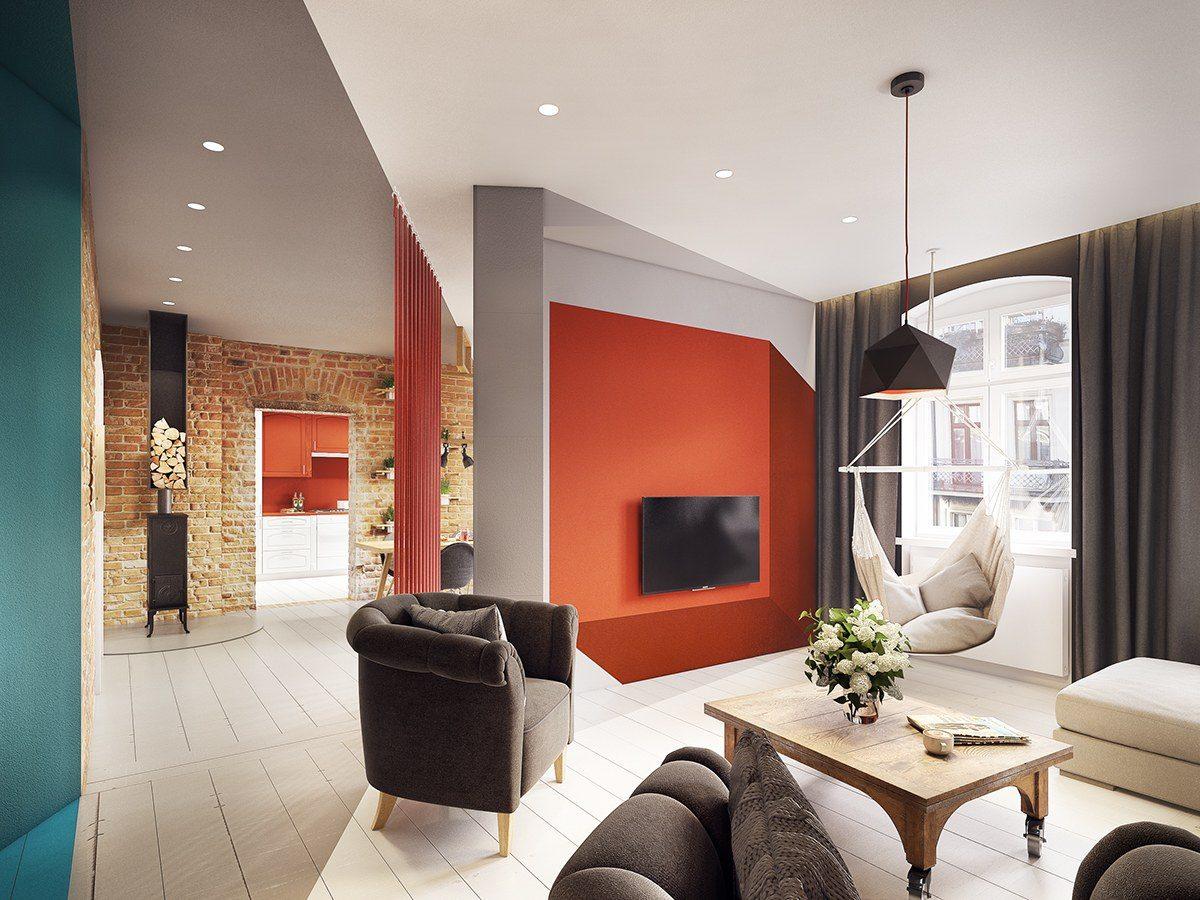 colorful geometric apartment Căn hộ hiện đại tuyệt đẹp với thiết kế đầy màu sắc qpdesign