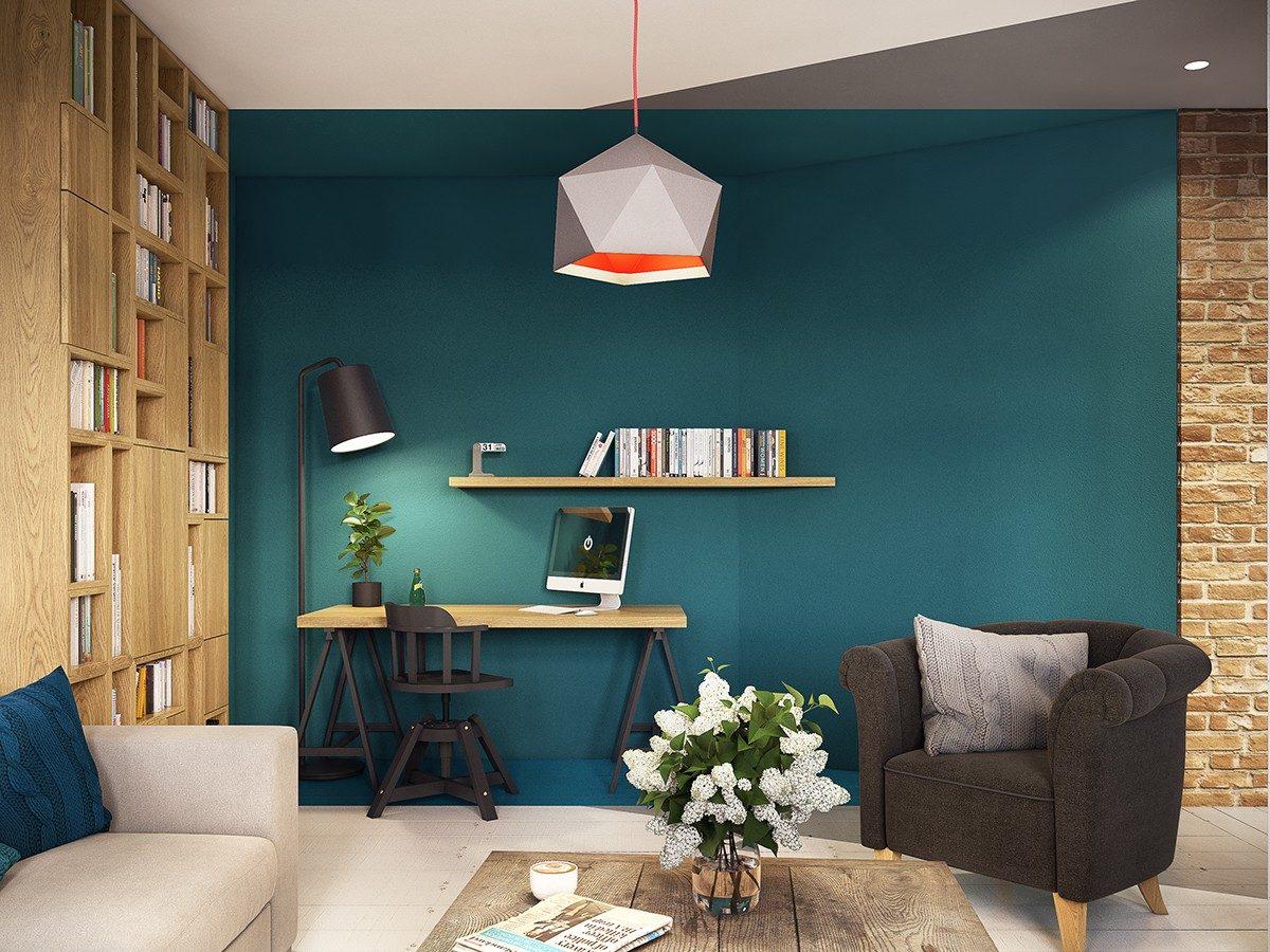 geometric home office space Căn hộ hiện đại tuyệt đẹp với thiết kế đầy màu sắc qpdesign
