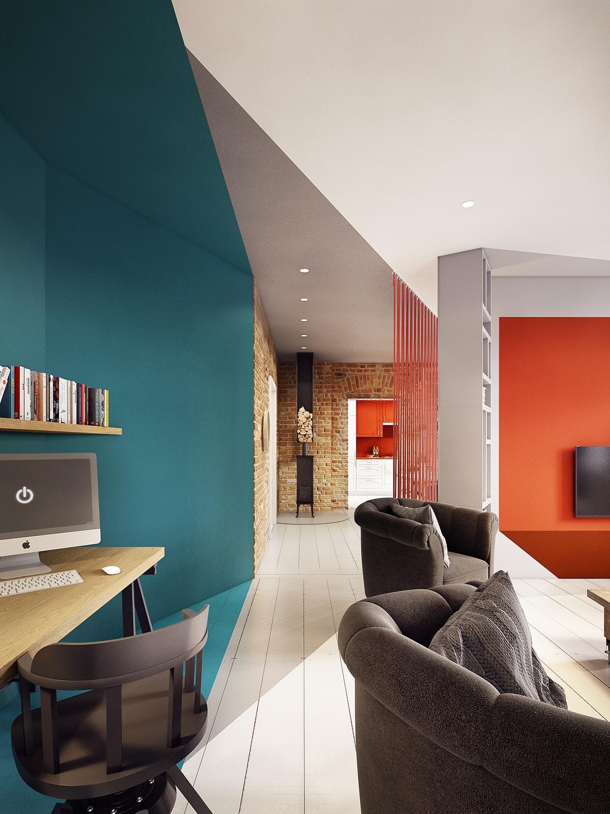 geometric interior paint inspiration Căn hộ hiện đại tuyệt đẹp với thiết kế đầy màu sắc qpdesign