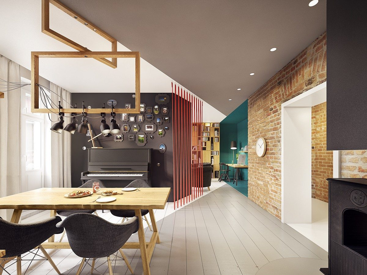 geometric painted ceiling and floor Căn hộ hiện đại tuyệt đẹp với thiết kế đầy màu sắc qpdesign