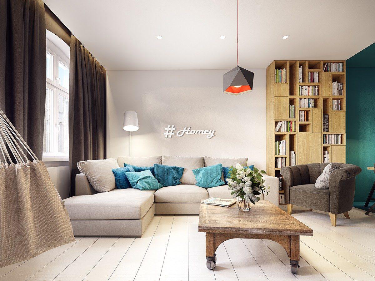 homey blue living room Căn hộ hiện đại tuyệt đẹp với thiết kế đầy màu sắc qpdesign