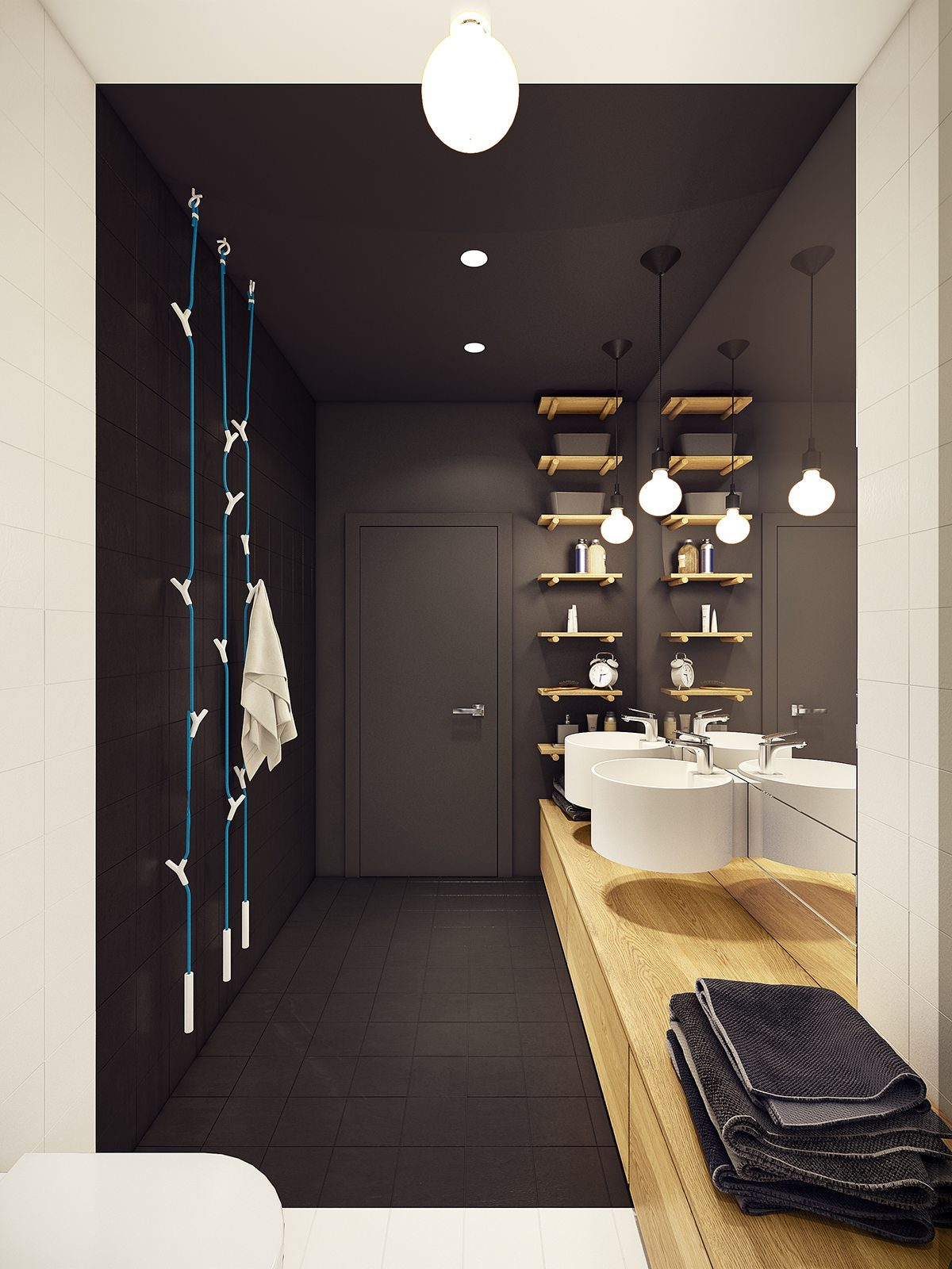 matte black bathroom inspiration Căn hộ hiện đại tuyệt đẹp với thiết kế đầy màu sắc qpdesign