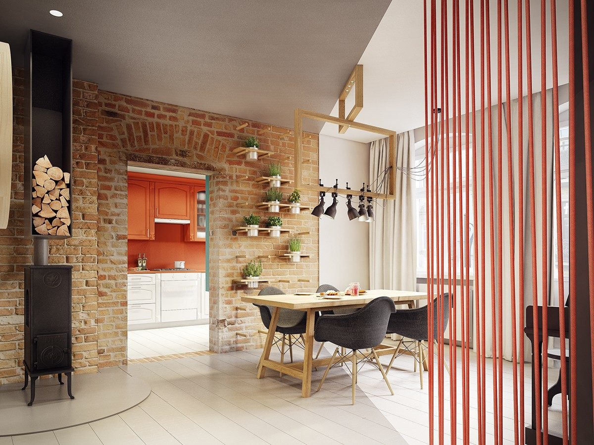 modern traditional dining room Căn hộ hiện đại tuyệt đẹp với thiết kế đầy màu sắc qpdesign