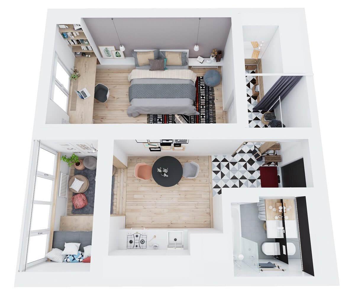 above floorplan apartment three Hô biến căn hộ dưới 50m2 thành không gian rộng rãi và cá tính qpdesign
