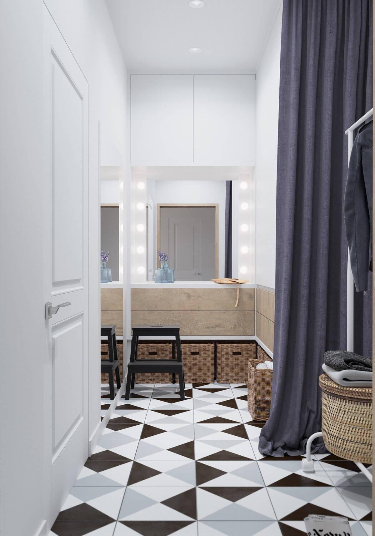 extra space unique tiles geometric laundry Hô biến căn hộ dưới 50m2 thành không gian rộng rãi và cá tính qpdesign
