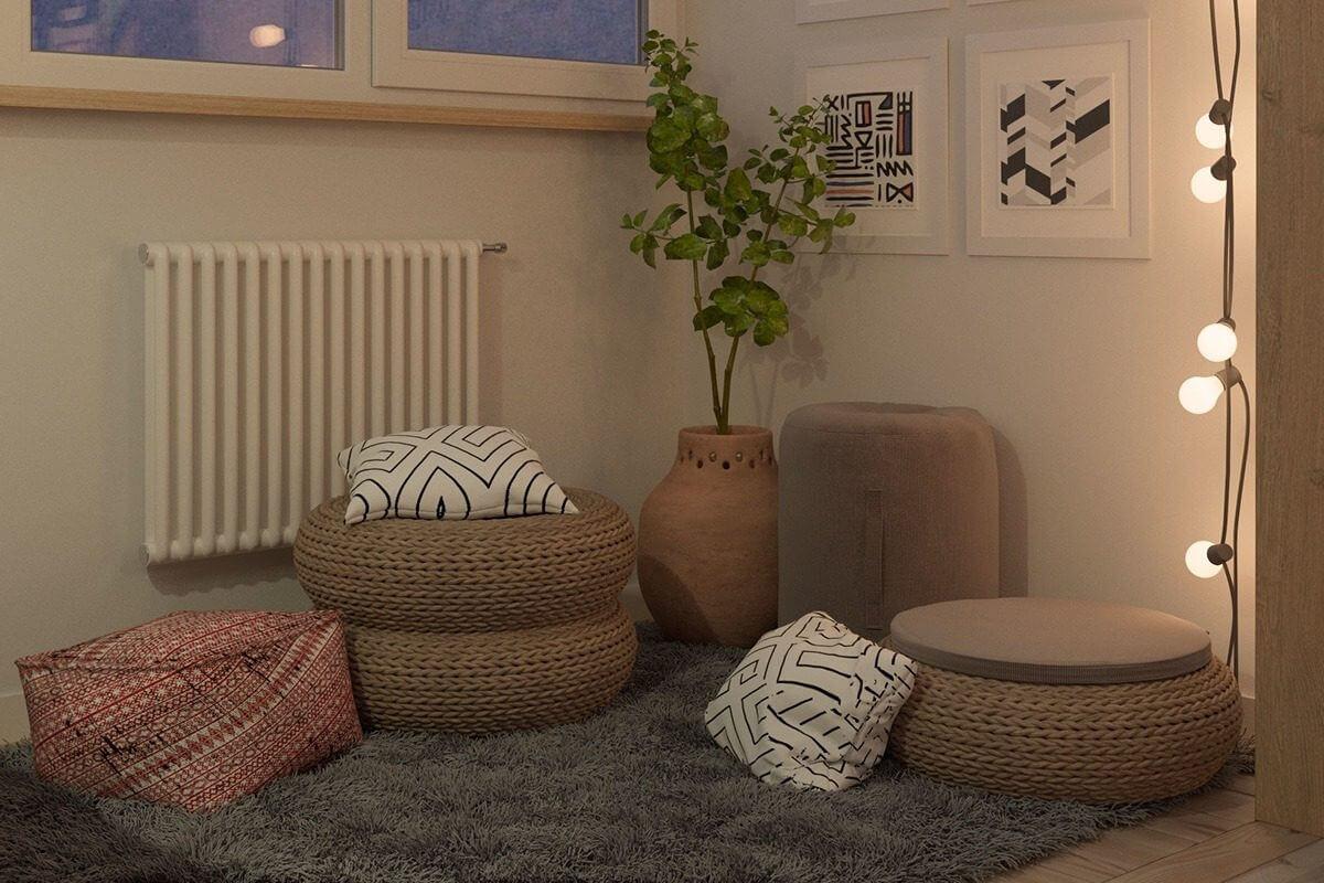 heater tan white frames Hô biến căn hộ dưới 50m2 thành không gian rộng rãi và cá tính qpdesign