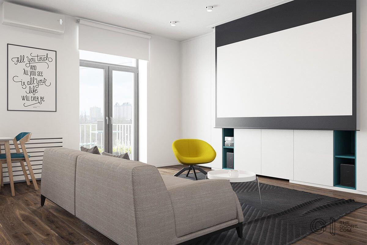 living room screen projector tv yellow chair Hô biến căn hộ dưới 50m2 thành không gian rộng rãi và cá tính qpdesign