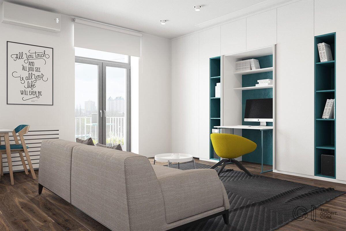 livingroom office space imac teal builtin shelves Hô biến căn hộ dưới 50m2 thành không gian rộng rãi và cá tính qpdesign