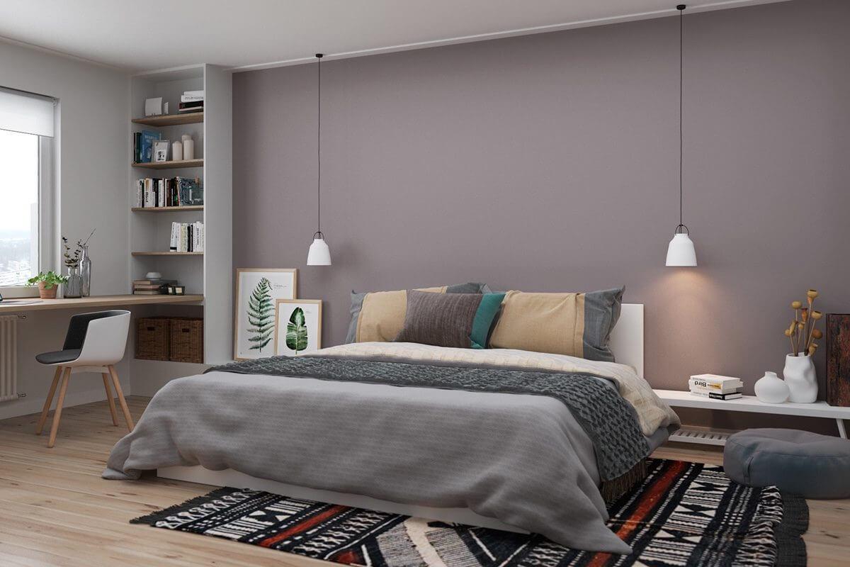 lower to floor bed green art purple wall Hô biến căn hộ dưới 50m2 thành không gian rộng rãi và cá tính qpdesign