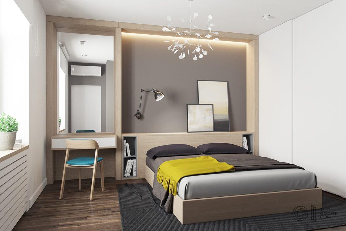 master bedroom yellow throw gray bedding  Hô biến căn hộ dưới 50m2 thành không gian rộng rãi và cá tính qpdesign
