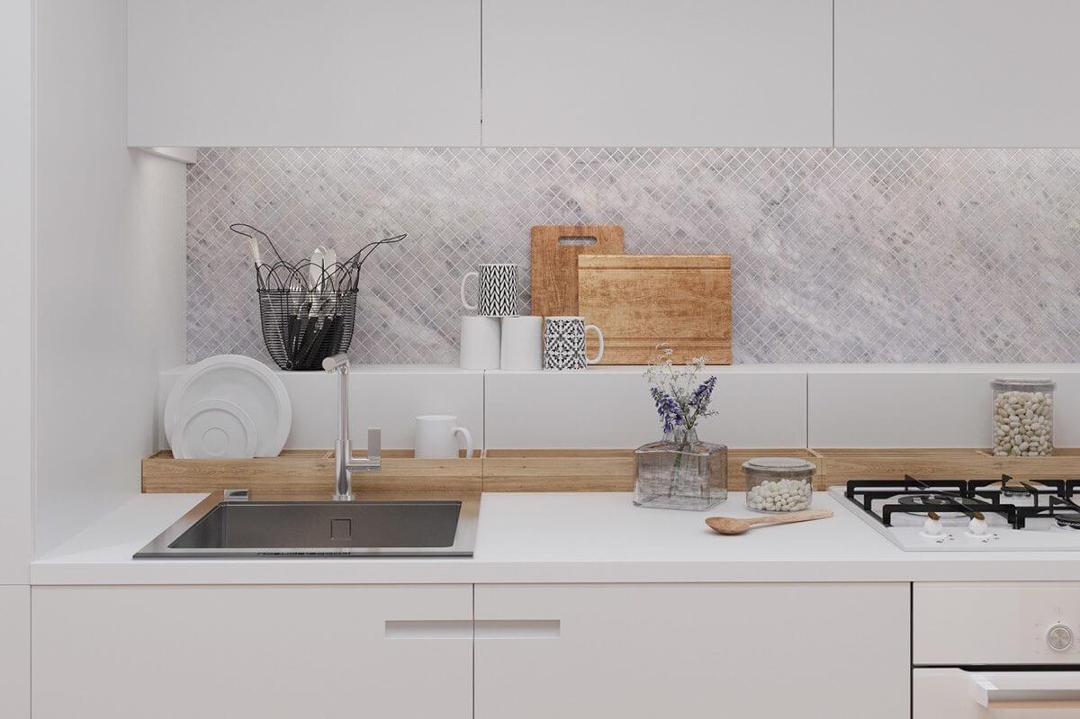 sink kitchen tiny bamboo holder cutting boards Hô biến căn hộ dưới 50m2 thành không gian rộng rãi và cá tính qpdesign