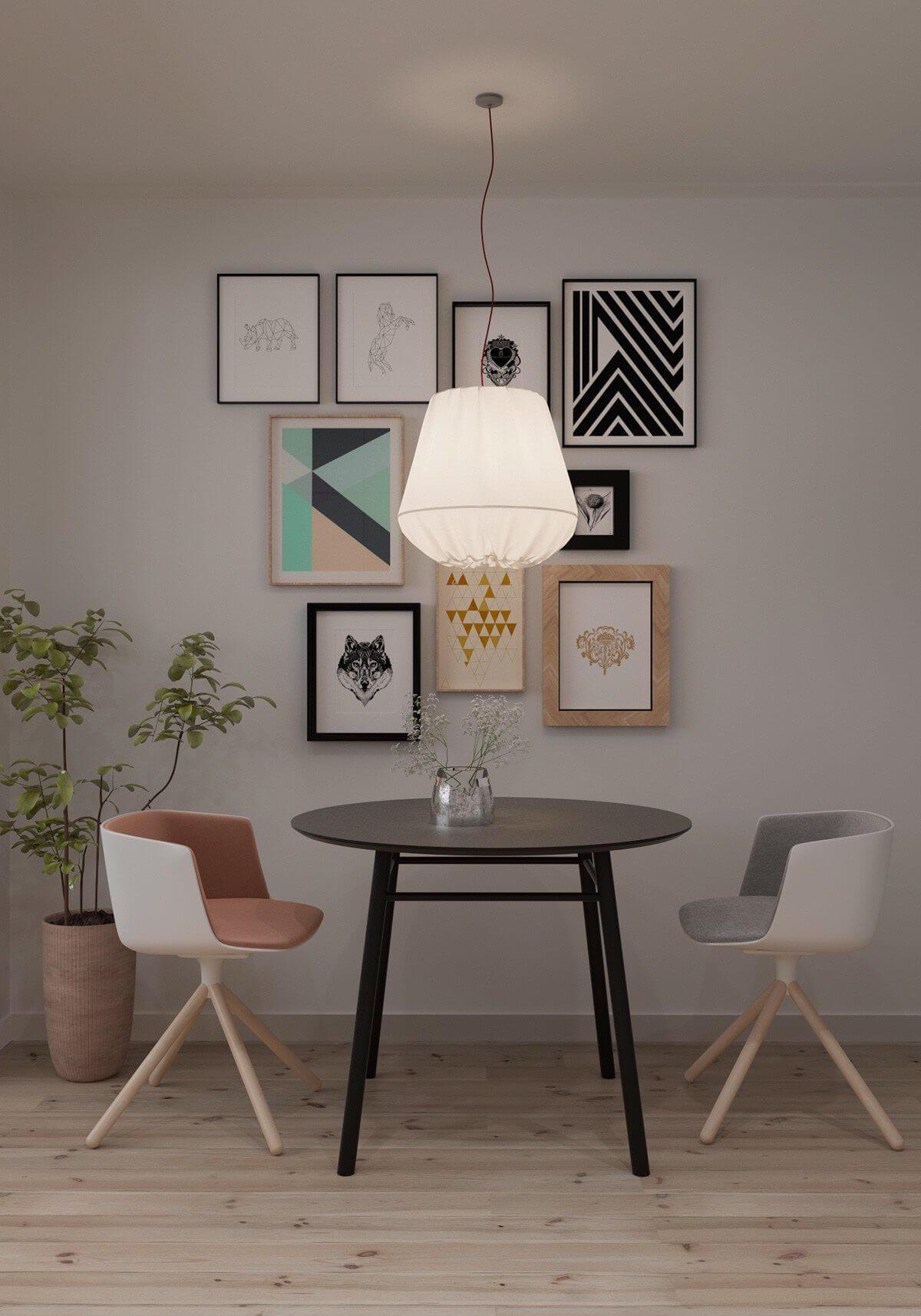 tiny ktichen teal backsplash white cabinets yellow accent 1 Hô biến căn hộ dưới 50m2 thành không gian rộng rãi và cá tính qpdesign