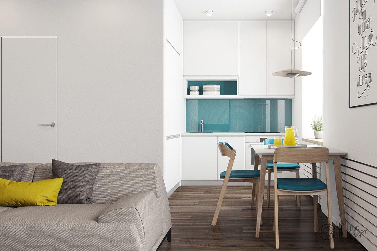 tiny ktichen teal backsplash white cabinets yellow accent Hô biến căn hộ dưới 50m2 thành không gian rộng rãi và cá tính qpdesign