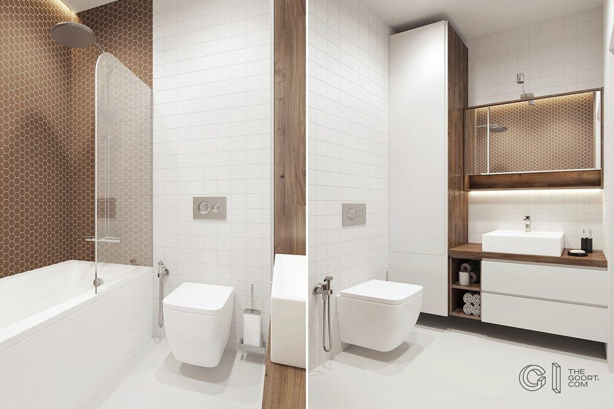 white brown bathroom soak tub white tile Hô biến căn hộ dưới 50m2 thành không gian rộng rãi và cá tính qpdesign
