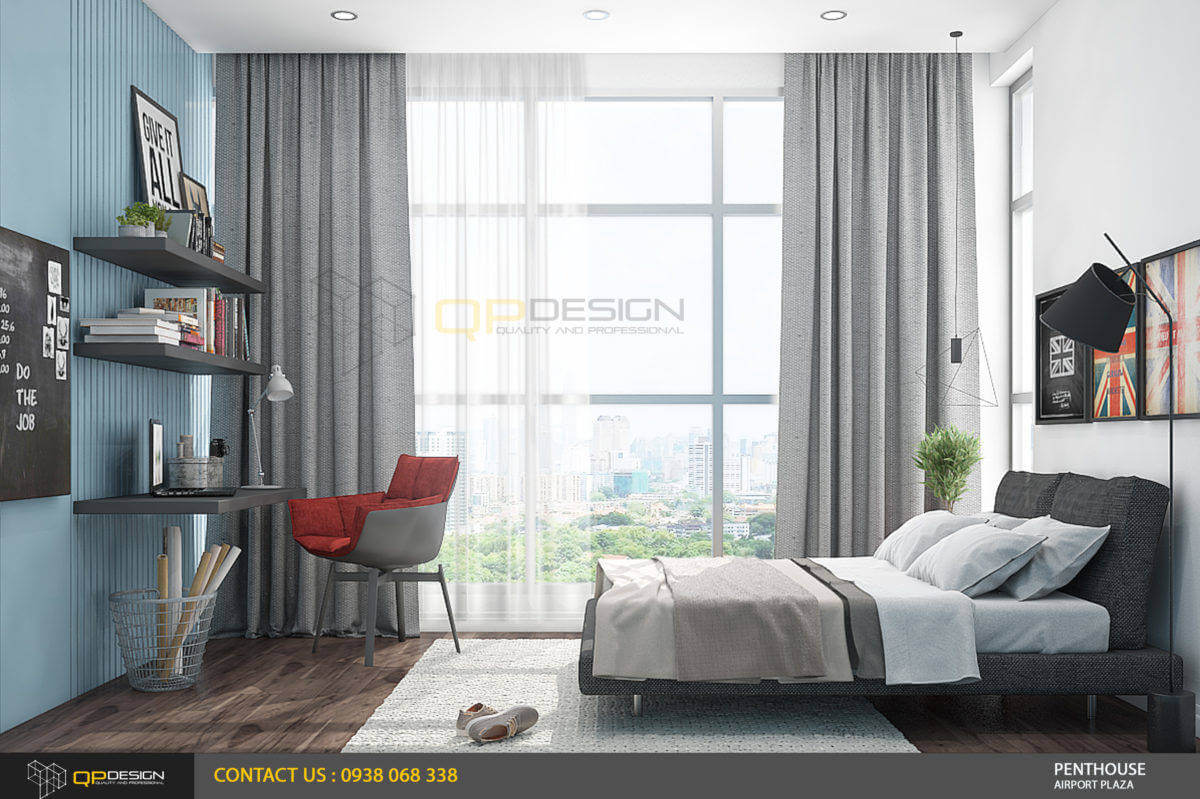 thiết kế phòng ngủ căn hộ penthouse