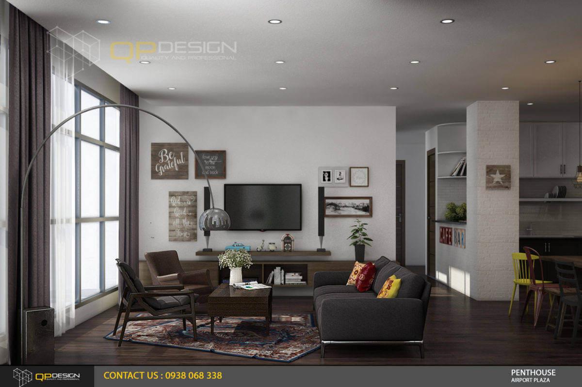 thiết kế phòng khách căn hộ penthouse
