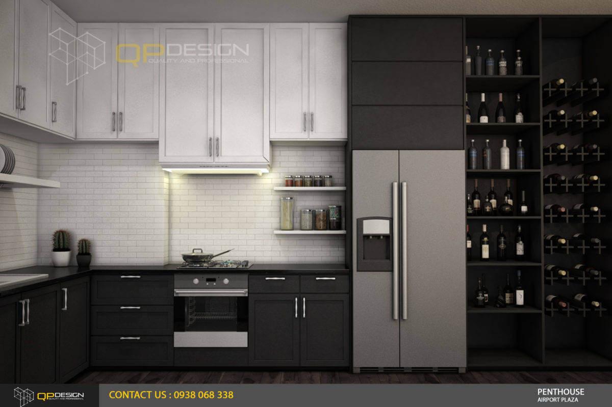 thiết kế phòng bếp căn hộ penthouse