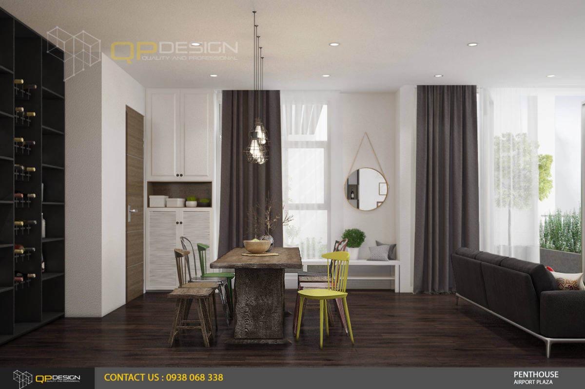 thiết kế phòng bếp - phòng khách căn hộ penthouse