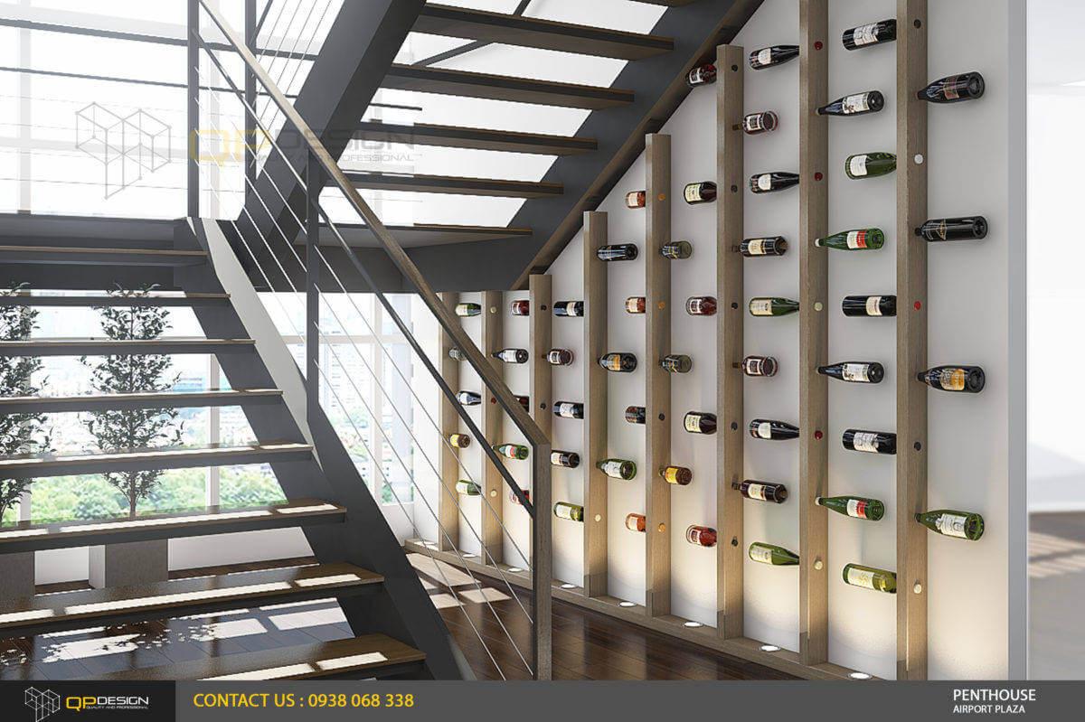 trang trí cầu thang căn hộ penthouse