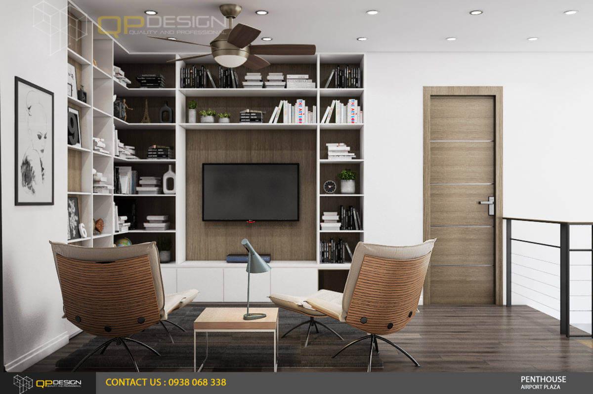 thiết kế phòng đọc sách căn hộ penthousse