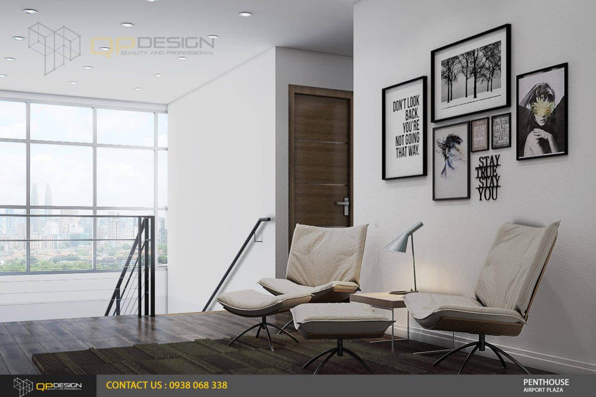 một góc thư giản của căn hộ penthouse