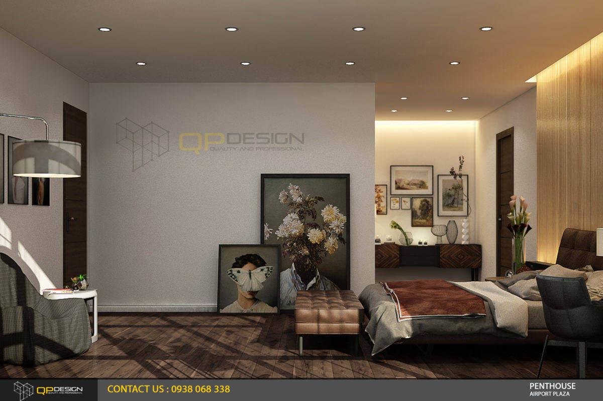 thiết kế phòng ngủ master căn hộ penthouse