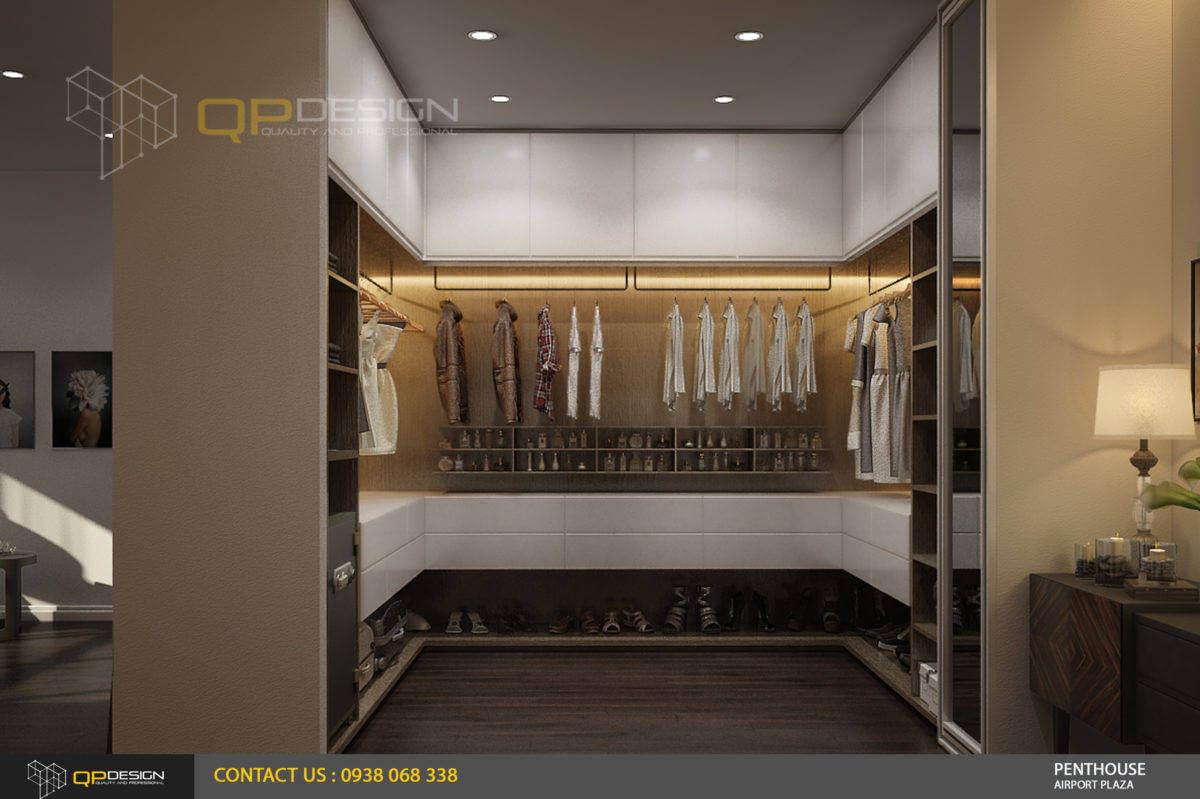 thiết kế nơi thay đồ phòng master căn hộ penthouse