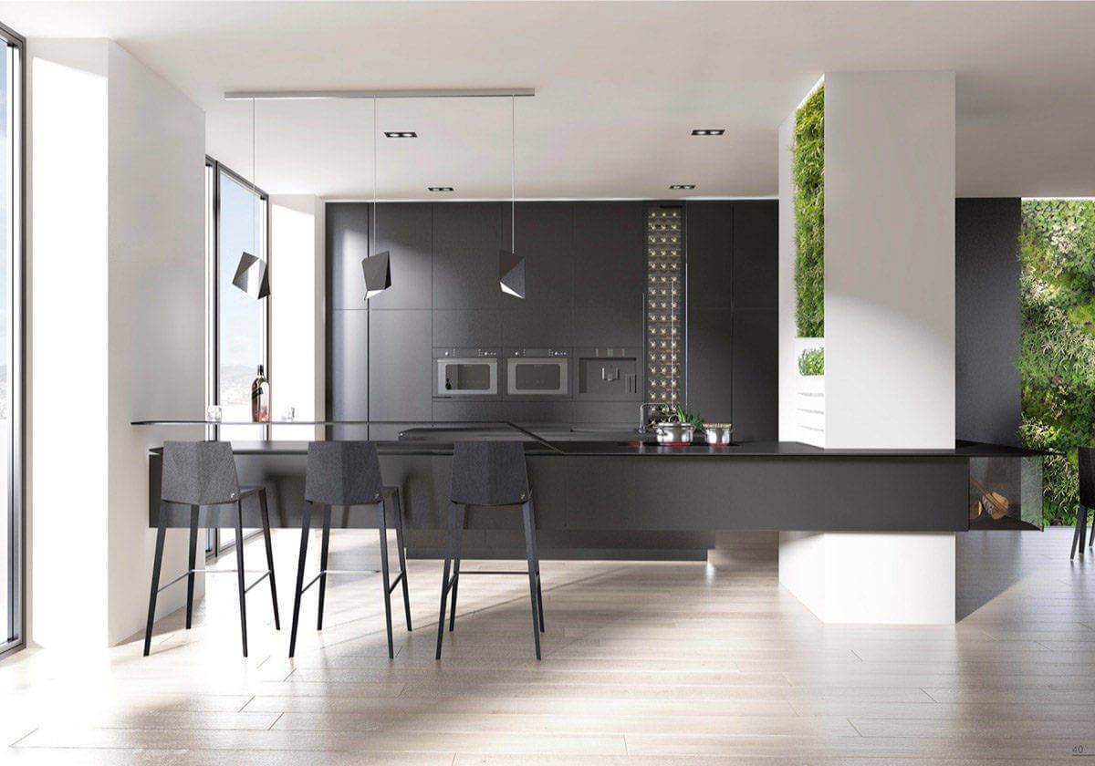 black on black geometric kitchen MẪU NHÀ BẾP ĐẸP VỚI PHONG CÁCH HIỆN ĐẠI qpdesign