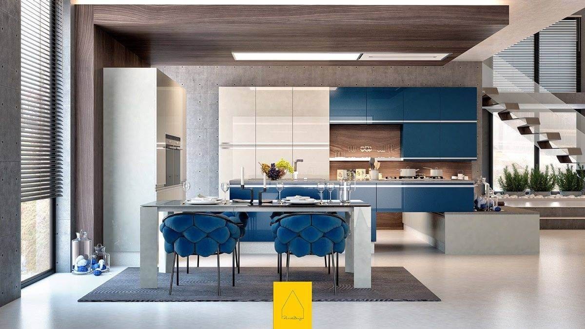 color blocking in the kitchen MẪU NHÀ BẾP ĐẸP VỚI PHONG CÁCH HIỆN ĐẠI qpdesign