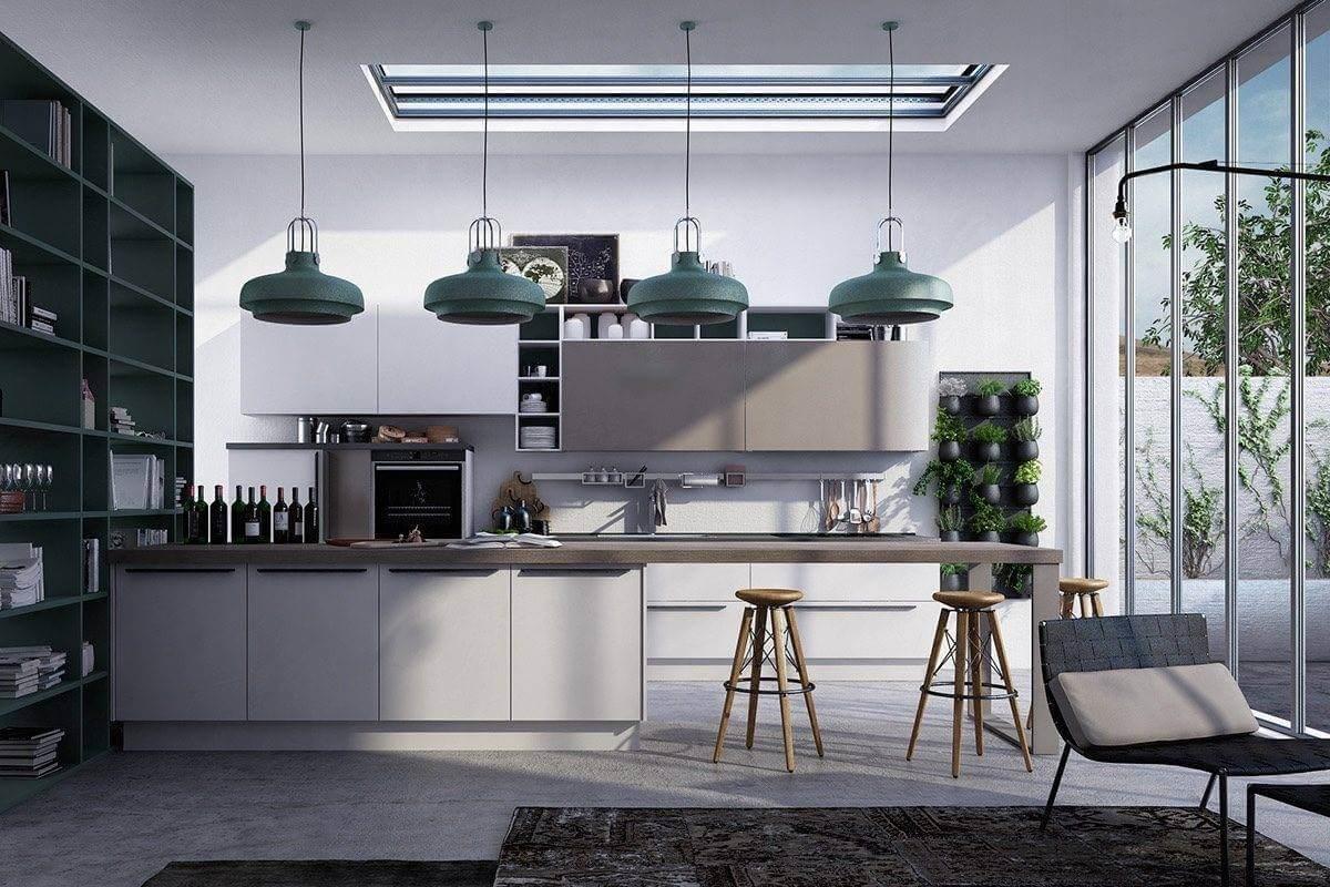 contrasting shapes in the kitchen MẪU NHÀ BẾP ĐẸP VỚI PHONG CÁCH HIỆN ĐẠI qpdesign