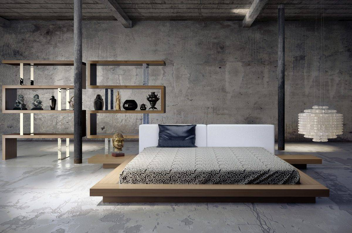 low-bed-platform-with-side-tables