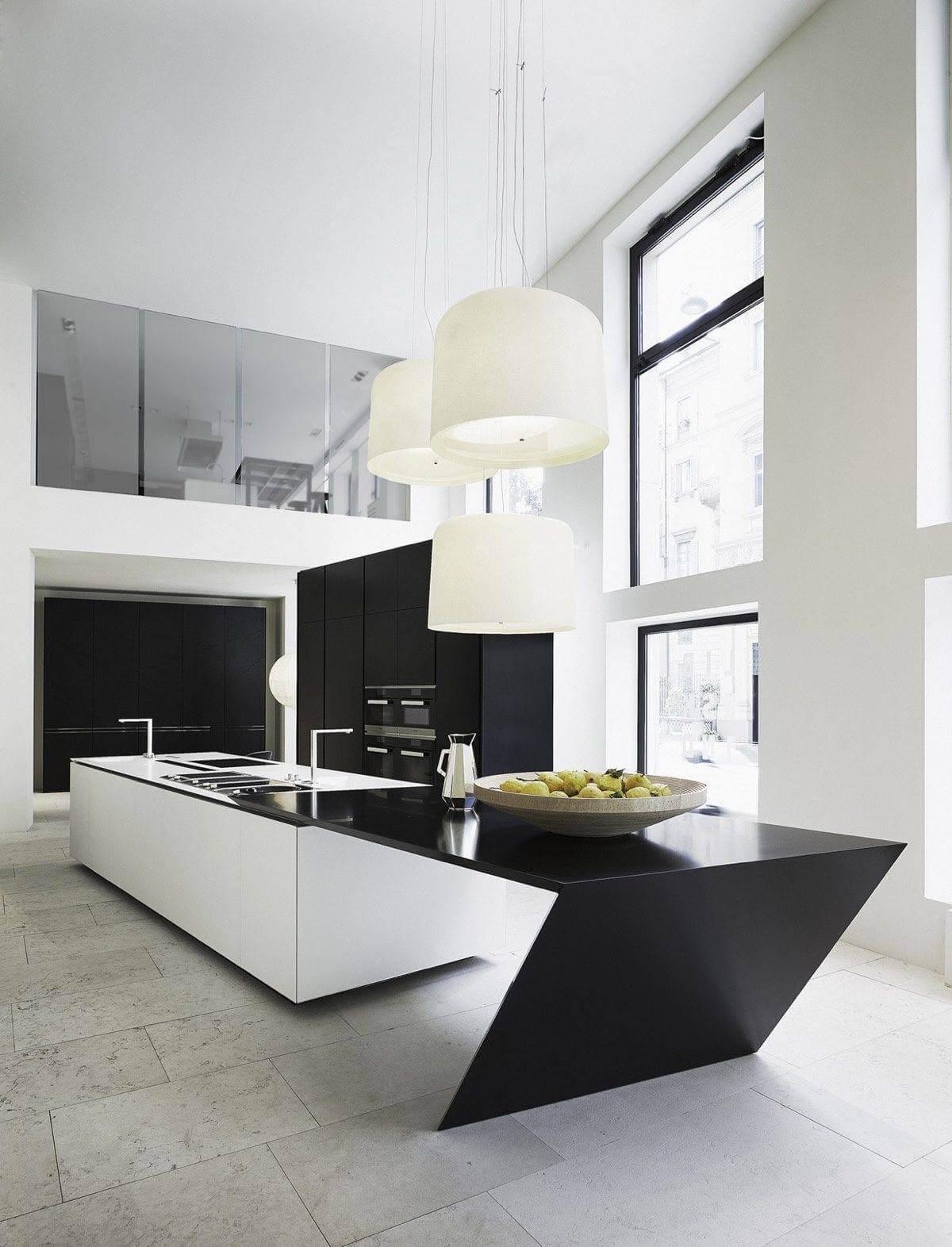 sharp geometric kitchen island MẪU NHÀ BẾP ĐẸP VỚI PHONG CÁCH HIỆN ĐẠI qpdesign