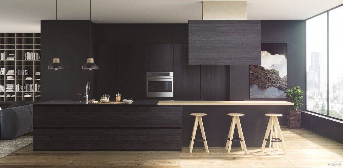 smooth-black-wood-kitchen