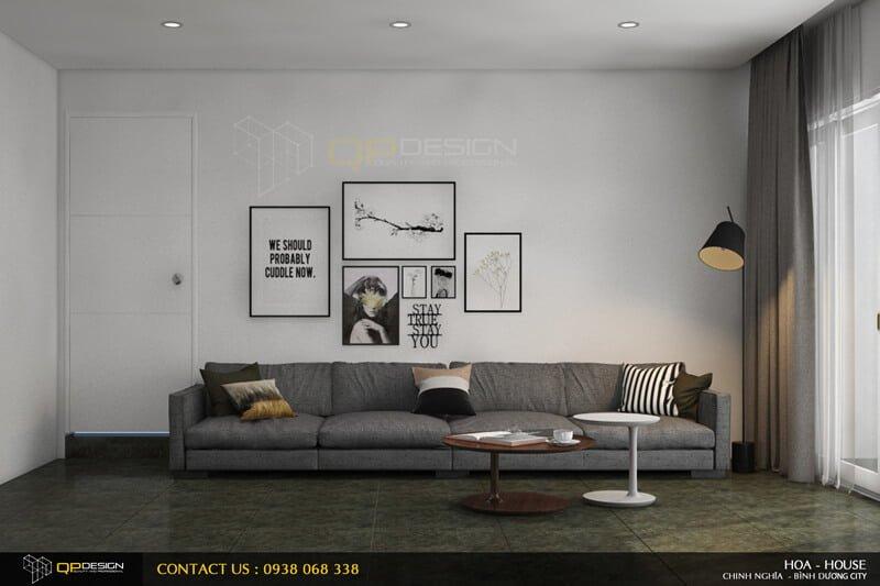Phòng khách theo tông màu tráng xám
