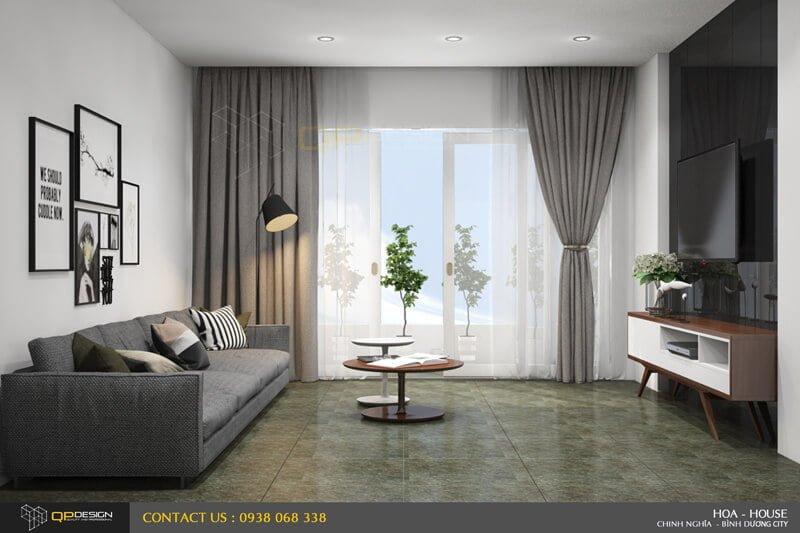 Phòng khách thiết kế thi công biệt thự phố