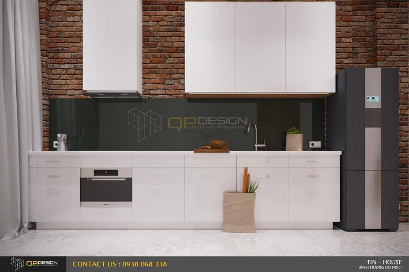 Bếp và phòng ăn với tông màu trắng đen và gỗ tự nhiên