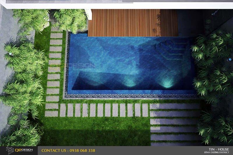 phoi canh ho boi nhiefn tu ben tren Thiết kế Biệt Thự Nghỉ dưỡng Bình Dương qpdesign