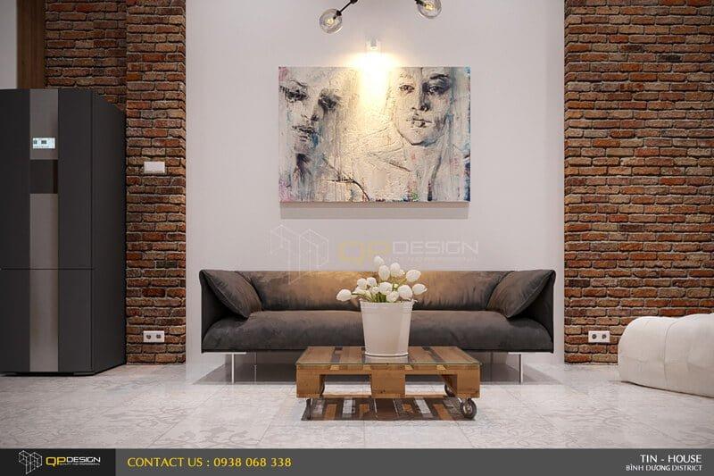 Phòng khách với thiết kế đơn giản tinh tế
