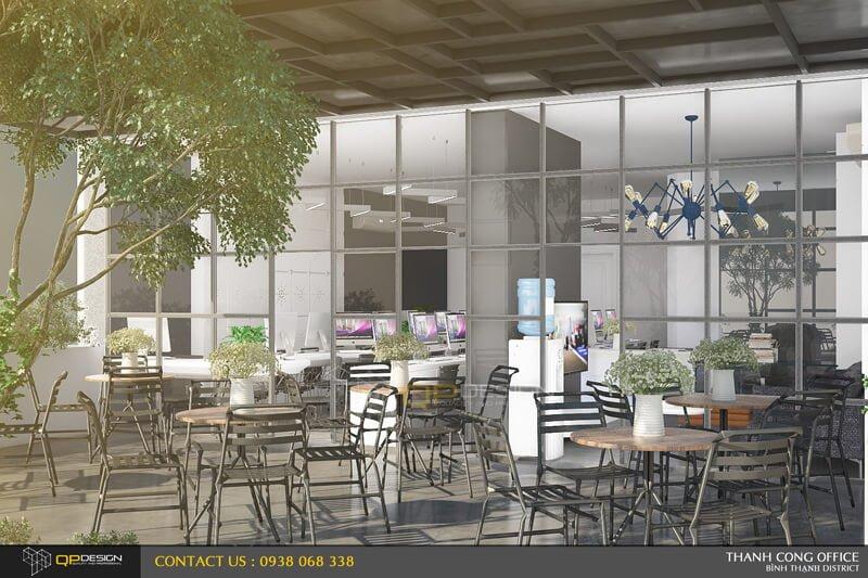 Không gian cafe trên tầng lửng