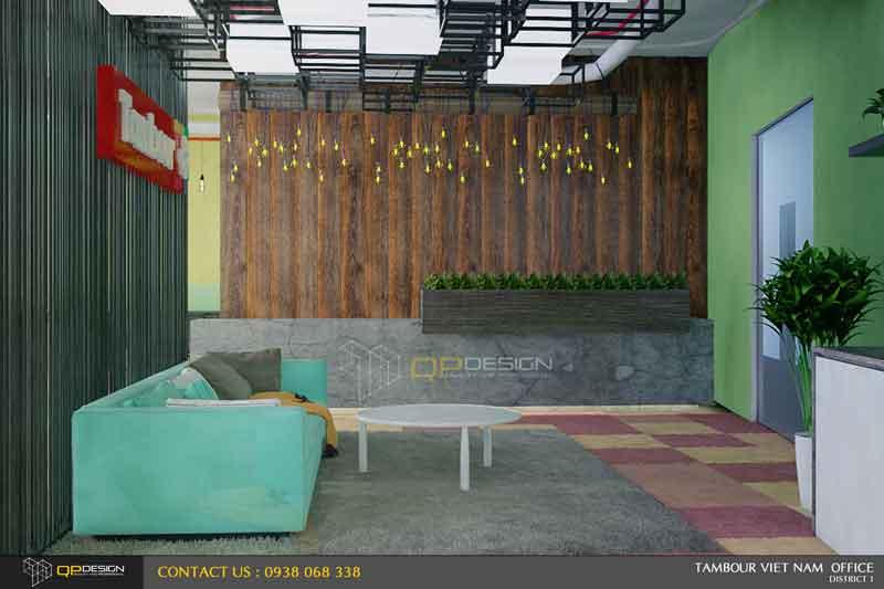 Khu vực tiếp khách phía trước sảnh vào văn phòng