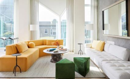 Phòng khách căn hộ thanh lịch dành cho cặp đôi cao tuổi